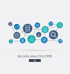 Big data integrated thin line icons digital vector