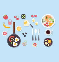 big set of various food dishes isolated top view vector image