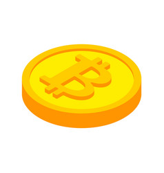 bitcoin coin isolated cryptocurrency on white vector image
