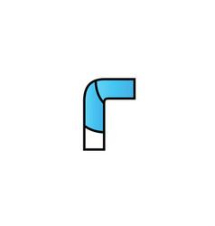 Black blue alphabet letter r logo company icon vector