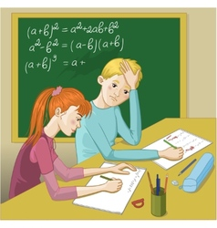 Boy and girl in a classroom vector image