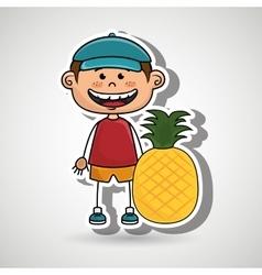 Boy fruit cartoon food vector