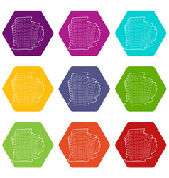 building icons set 9 vector image