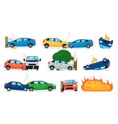 car accident set isolated cartoon car crash icon vector image
