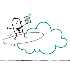 Cartoon characters and cloud - surf vector