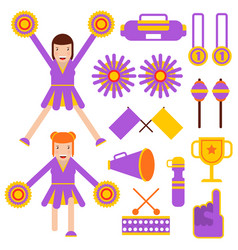 cheerleading elements and cheerleader girls vector image