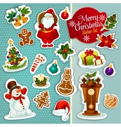 Christmas sticker icon set for xmas design vector image