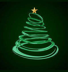 Christmas tree from red spiral with star on top vector