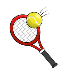 color racket and tennis ball icon vector image