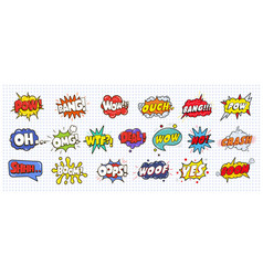 Comic sound speech effect bubbles set isolated on vector
