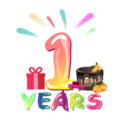 congratulation with 1 year with balloons vector image