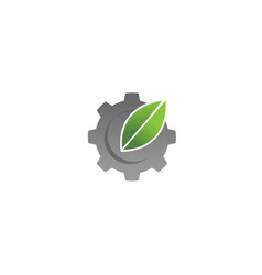 creative gear leaf agricultural technology logo vector image