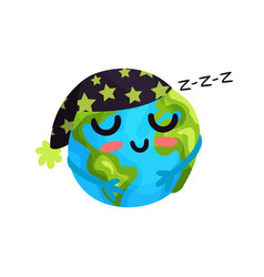 cute cartoon sleeping earth planet emoji funny vector image