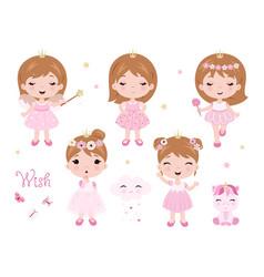 cute little bagirl dressed as princess vector image