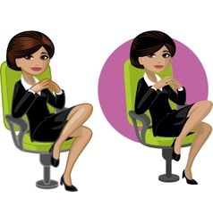 Cute young Indonesian office woman on chair vector image