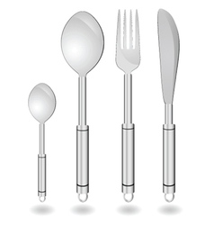 Cutlery in silver color vector