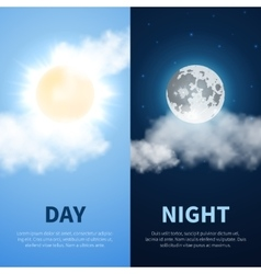 Day and night time concept background with vector