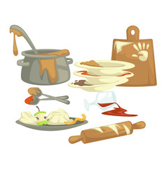 Dirty dishes and dishware food remains and fat vector