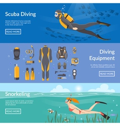 Diving And Snorkeling Horizontal Banners vector image