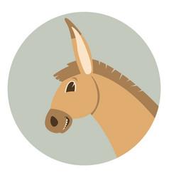 donkey cartoon faceflat style profile vector image