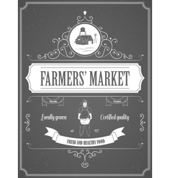 Farmers Market Vintage Advertisement Poster vector image vector image
