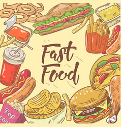 fast food hand drawn design with burger hot dog vector image