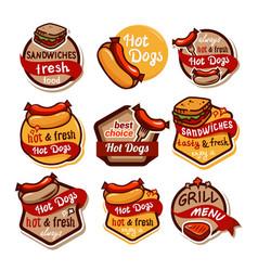 fast food logos and emblems set3 vector image
