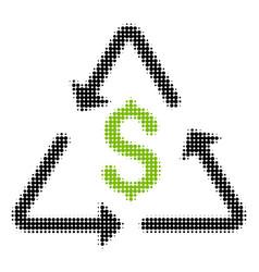 financial recycling halftone icon vector image