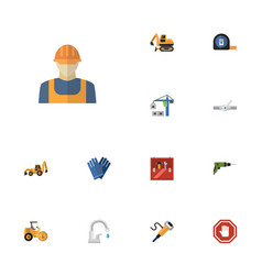 flat icons worker pneumatic roll meter and other vector image vector image