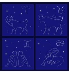 Four Zodiac signs Aries Taurus Gemini Cancer vector image