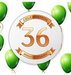 Golden number thirty six years anniversary vector image