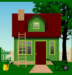 Green house on a plot with fence tree and home vector