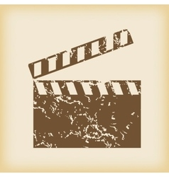 Grungy clapperboard icon vector