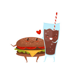 hamburger and cola drink are friends forever fast vector image
