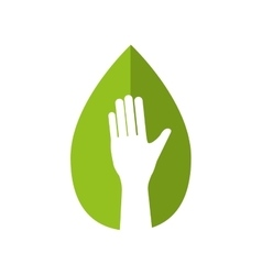 Hand human leaf help gesture fingers palm icon vector