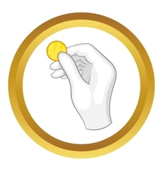 Hand in a white glove holding a coin icon vector
