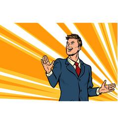 Handsome man businessman leader presents vector