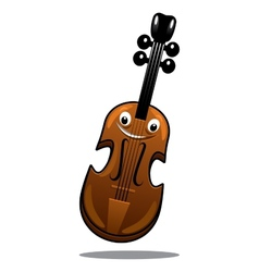 Happy brown cartoon wooden violin vector