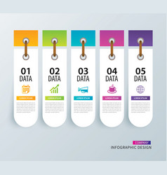 Infographics tab in vertical paper index with 5 vector