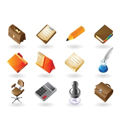 Isometric-style icons for office vector image