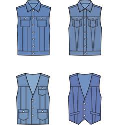 Jean vest set vector