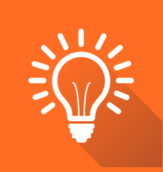 Light bulb line icon isolated on orange vector