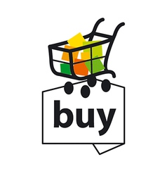 logo basket with goods to buy vector image