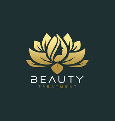 lotus flower beauty salon and hair treatment logo vector image