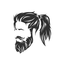 Mens hairstyles and hirecut with beard mustache vector