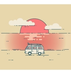 Minivan and sea sunset landscape vector image