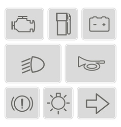 monochrome set with car dashboard icons vector image