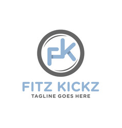monogram logo design with letter fk vector image