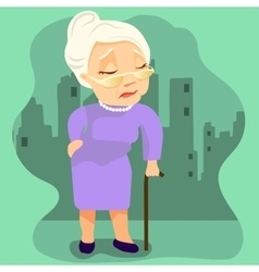 old woman with cane on city background vector image