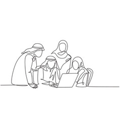 One single line drawing young muslim business vector